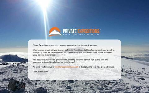 Screenshot of Home Page privateexpeditions.com - Climb Kilimanjaro | Everest base camp trek | Machu Picchu trek - captured Jan. 29, 2016