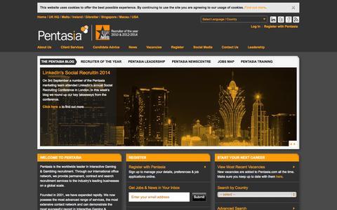 Screenshot of Home Page pentasia.com - Pentasia | Casino Jobs, Betting Jobs & Online Gaming Recruitment - captured Sept. 22, 2014