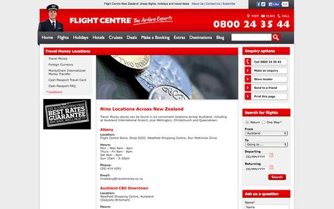 Screenshot of Locations Page flightcentre.co.nz - Travel Money – Foreign Currency Exchange - Flight Centre NZ - captured Sept. 19, 2014