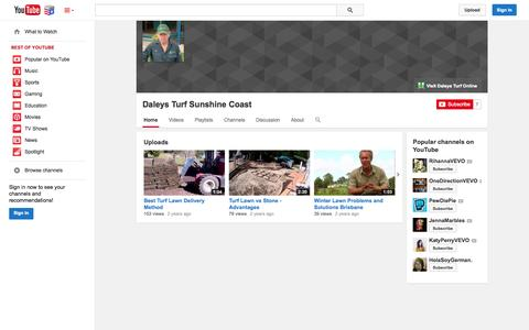 Screenshot of YouTube Page youtube.com - Daleys Turf Sunshine Coast  - YouTube - captured Nov. 4, 2014
