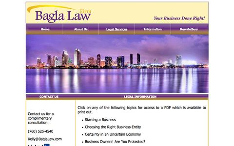 Screenshot of Terms Page baglalaw.com - Bagla Law - Where Business Is Done Right: Legal Information - captured Oct. 5, 2014