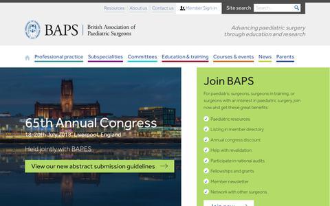 Screenshot of Home Page baps.org.uk - British Association of Paediatric Surgeons (BAPS) - captured Jan. 26, 2018