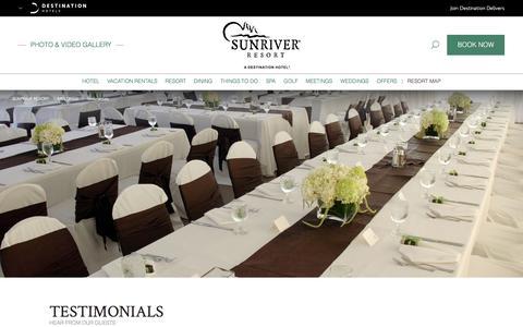 Screenshot of Testimonials Page destinationhotels.com - Meeting Venues Near Bend OR | Sunriver Resort - Meeting Awards & Testimonials - captured Sept. 23, 2018