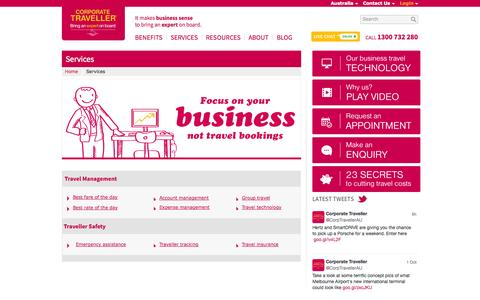 Screenshot of Services Page corporatetraveller.com.au - Corporate & Business Travel Services   Corporate Traveller - captured Oct. 3, 2014