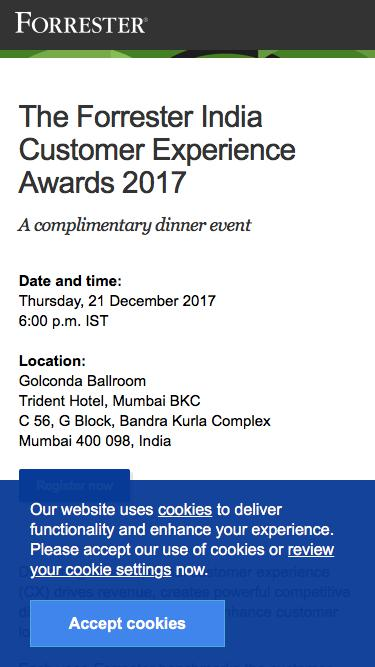 Register now: The Forrester India Customer Experience Awards 2017