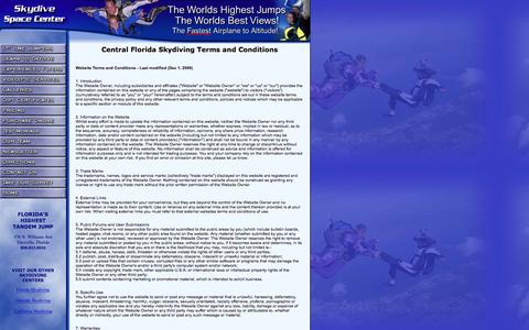Screenshot of Terms Page skydivespacecenter.com - Central Florida and Orlando Skydiving featuring Florida's Highest Tandem Jump - captured Aug. 14, 2016