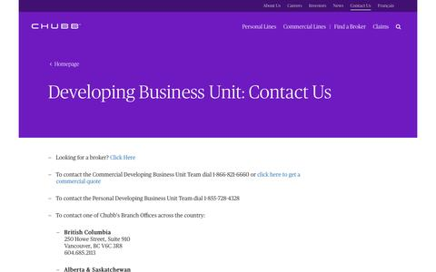Screenshot of Contact Page dbucanada.ca - Chubb Developing Business Unit Contact in Canada - captured Jan. 31, 2017