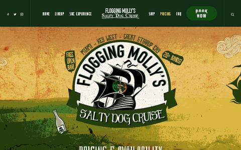 Screenshot of Pricing Page floggingmollycruise.com - Pricing & Availability – Flogging Molly's Salty Dog Cruise - captured Oct. 14, 2017