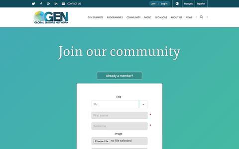 Screenshot of Signup Page globaleditorsnetwork.org - Join our community | GEN - captured Sept. 19, 2014
