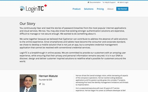 Screenshot of About Page logintc.com - LoginTC - About - captured Oct. 3, 2014