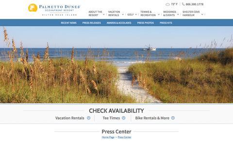 Screenshot of Press Page palmettodunes.com - Hilton Head Vacation Resorts   Palmetto Dunes - Press Room   Hilton Head Oceanfront Resorts - captured Sept. 24, 2014