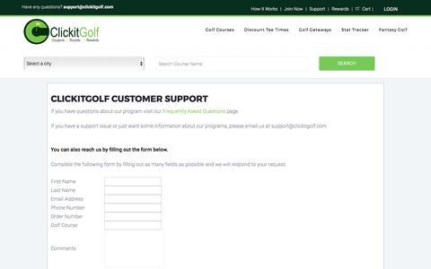 Screenshot of Support Page clickitgolf.com - Golf Course Discounts at over 300 Golf Courses - Clickitgolf.com - captured Aug. 5, 2017