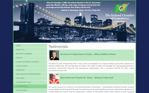 Screenshot of Testimonials Page iccusa.org captured Oct. 6, 2014
