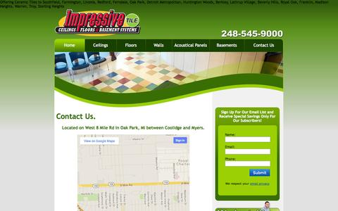 Screenshot of Contact Page Maps & Directions Page impressivetile.com - ceramic tiles, laminate flooring, ceiling tiles, vinyl flooring, wall paneling, wood paneling - captured Oct. 23, 2014