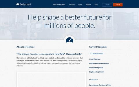 Screenshot of Jobs Page betterment.com - Jobs | Betterment - captured July 19, 2014