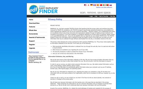 Screenshot of Privacy Page easyduplicatefinder.com - Easy Duplicate Finder™ - Privacy Policy - captured Sept. 23, 2014