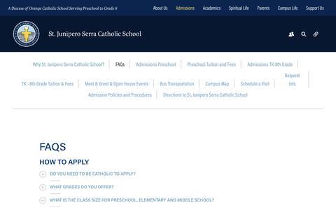 Screenshot of FAQ Page serraschool.org - FAQs - Serra Catholic School - captured Dec. 3, 2016