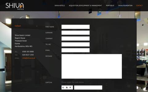 Screenshot of Contact Page shiva.co.uk - Contact - captured April 2, 2016