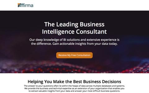 Screenshot of Landing Page affirmaconsulting.com - Business Intelligence Consulting | Affirma Consulting - captured March 22, 2018