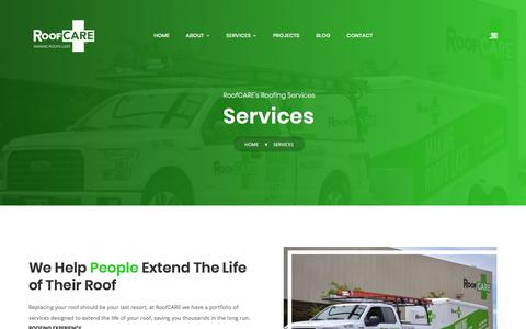 Screenshot of Services Page roofcare.us - Services – RoofCARE - captured Oct. 13, 2019