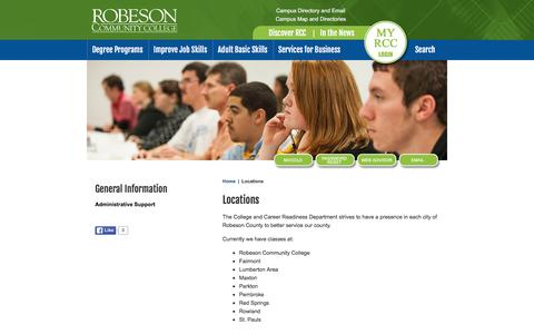 Screenshot of Locations Page robeson.edu - Locations : RCC - captured Feb. 22, 2016