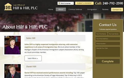 Screenshot of About Page hilfandhilf.com - Learn about Sufen Hilf and Daniel Hilf of Hilf & Hilf, PLC - captured Jan. 30, 2016