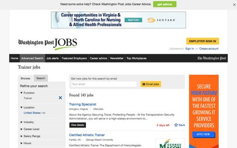 Screenshot of Jobs Page washingtonpost.com - Trainer jobs - captured Oct. 30, 2016