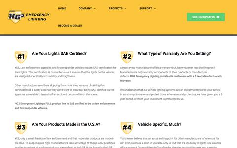 Screenshot of FAQ Page hg2lighting.com - FAQs - HG2 Emergency Lighting - captured Sept. 25, 2018