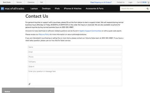 Screenshot of Contact Page macofalltrades.com - Contact Us - captured Feb. 15, 2020