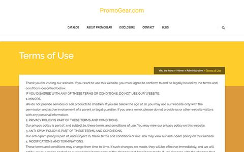 Screenshot of Terms Page promogear.com - Terms of Use - PromoGear - captured Nov. 14, 2016