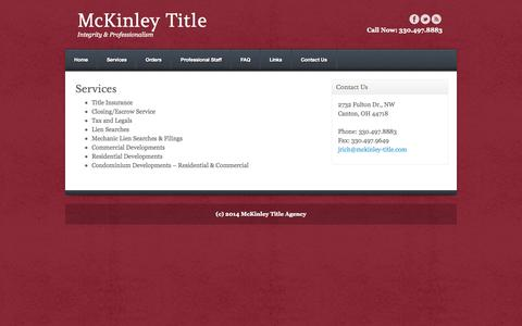 Screenshot of Services Page mckinley-title.com - McKinley Title Agency - Services | McKinley Title - captured Nov. 2, 2014