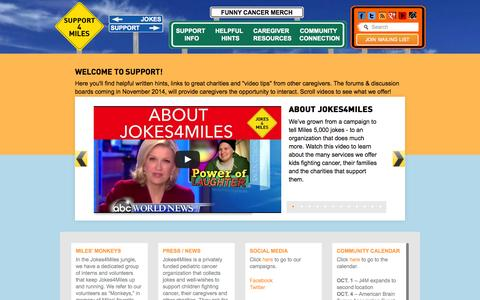 Screenshot of Support Page jokes4miles.com - Support Home | Jokes4Miles.com - captured Oct. 29, 2014