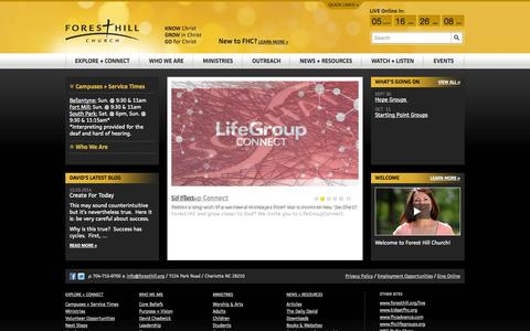 Screenshot of Home Page foresthill.org - Forest Hill Church | Forest Hill Church - captured Oct. 6, 2014