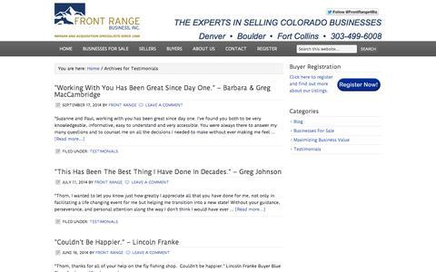 Screenshot of Testimonials Page frontrangebusiness.com - Testimonials - captured Sept. 19, 2014