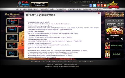 Screenshot of FAQ Page bestgoacasino.com - Faqs Casino Pride | Best Casino in Goa | Casino Packages in Goa | Poker Tournaments Goa | Floating Casino in Goa India |Offshore  casinos in Goa | casino deals Goa | casino in India - captured Oct. 1, 2014