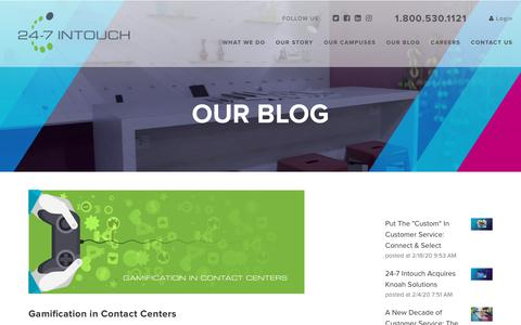 Screenshot of Blog 24-7intouch.com - Gamification in Contact Centers - captured Feb. 20, 2020
