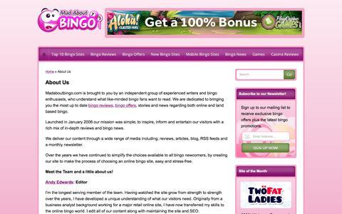 Screenshot of About Page madaboutbingo.com - About Us   Meet The Team   Madaboutbingo.com - captured May 27, 2017