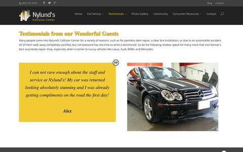 Screenshot of Testimonials Page nylundscollision.com - Testimonials from Nylund's Wonderful Guests! - captured Oct. 26, 2014