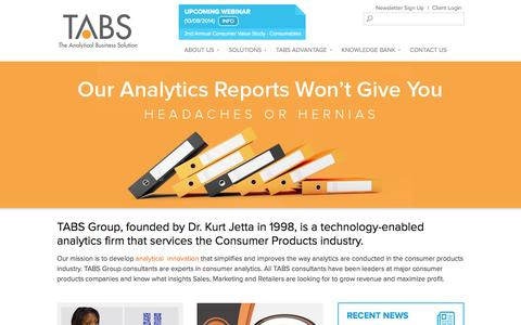 Screenshot of Home Page tabsgroup.com - TABS Group Inc. - The Experts in Consumer Analytics - captured Oct. 6, 2014