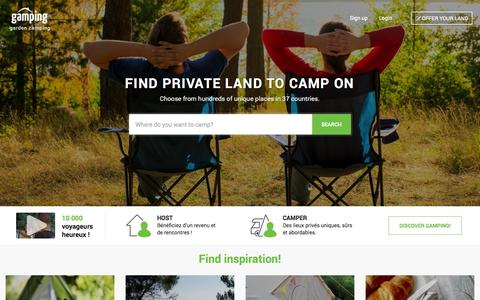Screenshot of Home Page gamping.com - Private Camping Rentals, Gardens and Backyards for rent á Gamping - captured Nov. 5, 2015