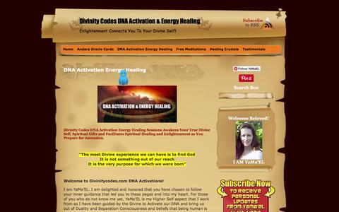 Screenshot of Home Page divinitycodes.com - DNA Activation Energy Healing - captured Oct. 5, 2014