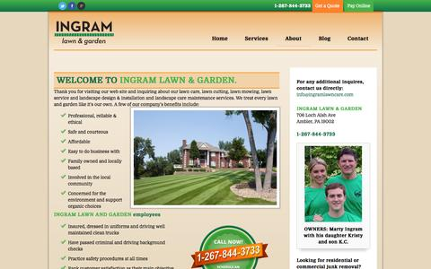Screenshot of About Page ingramlawncare.com - lawn service, lawn care programs, lawn cutting, lawn mowing | Ingram Lawn & Garden Service - captured Oct. 6, 2014