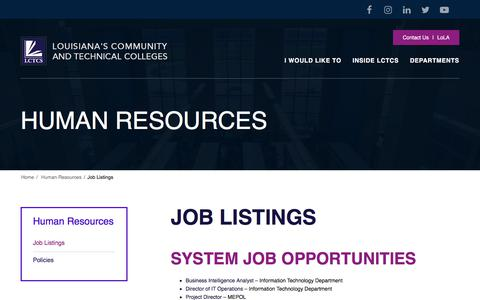 Screenshot of Jobs Page lctcs.edu - Job Listings | Human Resources - captured July 14, 2018