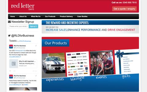 Screenshot of Services Page redletterdays.co.uk - Home   Red Letter Days For Business - captured Nov. 29, 2016