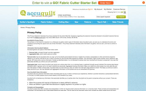Screenshot of Privacy Page accuquilt.com - Privacy Policy - captured Sept. 23, 2014