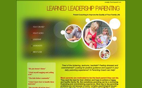 Screenshot of Home Page llparentingcoach.com - Parenting Coach - Learned Leadership Parenting - captured Oct. 2, 2014