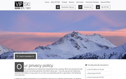 Screenshot of Privacy Page vip-chalets.com - VIP SKI Privacy Policy - VIP SKI - captured Feb. 17, 2016