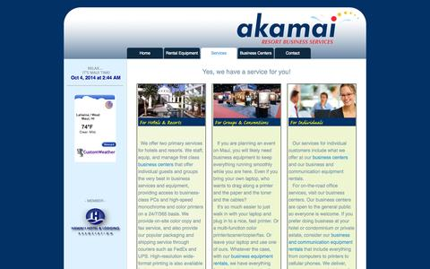 Screenshot of Services Page akamairbs.com - Akamai Resort Business Services - Maui || Services - captured Oct. 4, 2014