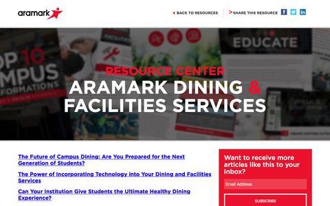 Screenshot of Blog aramark.com captured April 2, 2017