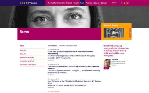 Screenshot of Press Page tipharma.com - Pharmaceutical Research News: TI Pharma - captured Oct. 3, 2014